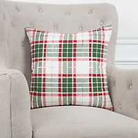 Red, Green, and White Plaid Christmas Pillow