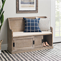 Natural Storage Pew Bench With Fabric Cushion