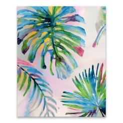 Four Leaf Palm Hand Embellished Canvas Art Print