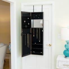 Espresso Wall or Door Mirror Jewelry Armoire