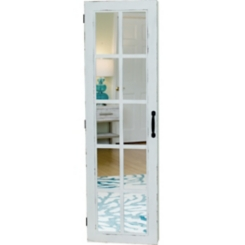 White Window Pane Armoire Jewelry Mirror