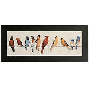 Colorful Birds On A Wire Framed Art
