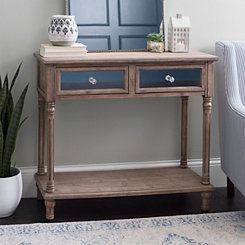 Natural Wood Console Table With Mirrored Drawers