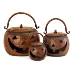 Lidded Hammered Jack O' Lantern Jar, Set of 3