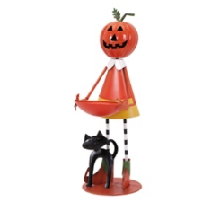 Jack O' Lantern Girl with Candy Dish Statue