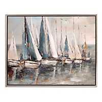 Painterly Sailboats Coastal Framed Art Print