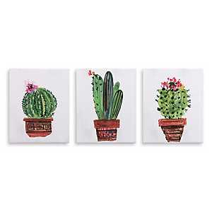 Simple Potted Cactus Canvas Art Prints, Set of 3