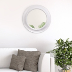 White Distressed Rustic Round Mirror, 24 in.