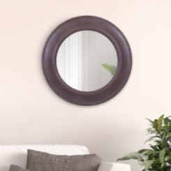 Brown Distressed Rustic Round Mirror, 24 in.