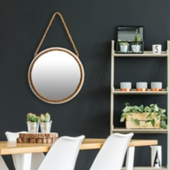 Oil Rubbed Bronze Mirror with Rope Hanger, 16 in.