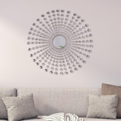 Silver Jeweled Starburst Mirror, 36 in.