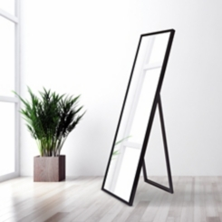 Black Floor Mirror with Easel, 17.7x59 in.
