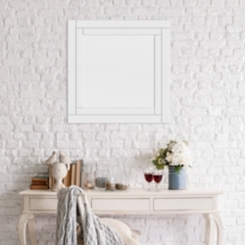 Etched Geometric Border Square Mirror, 24x24 in.