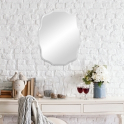 Baroque Scalloped Edge Frameless Mirror, 15x20 in.