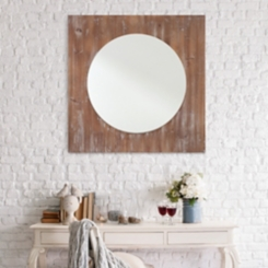 Distressed Reclaimed Wood Wall Mirror, 36x36 in.
