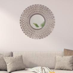 Champagne Geometric Sunburst Mirror, 27.5 in.