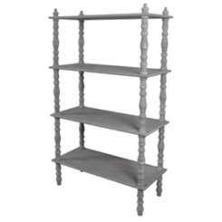 Distressed Gray Turned Leg Bookshelf