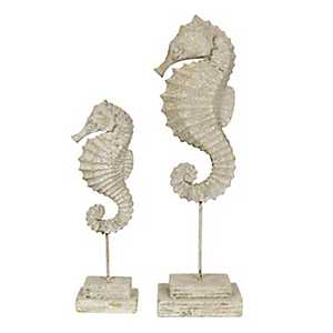 Seahorse Statues on Stands, Set of 2