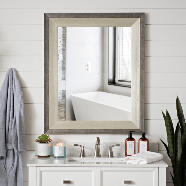 Gunmetal With Silver Trim Wall Mirror, 29x35 In.
