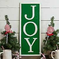 Green Metal Joy Christmas Plaque