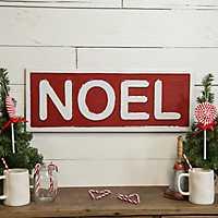 Red Metal Noel Christmas Plaque