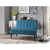 Carolyn Button Tufted Blue Settee