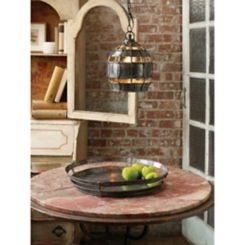 Riveted Metal Round Pendant Light