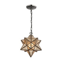 Mercury Glass Bronze Star Pendant Light