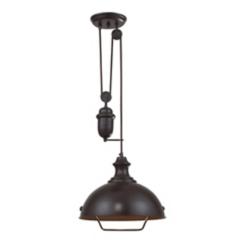 Farmhouse Adjustable Oiled Bronze Pendant Light