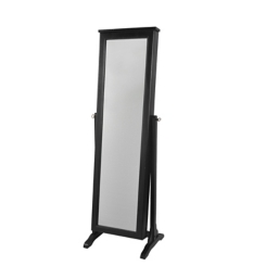 Black Wood Jewelry Armoire Mirror