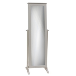 White Wood Jewelry Armoire Mirror
