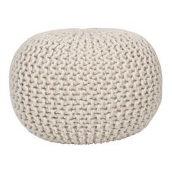 Ivory Woven Round Lurex Pouf