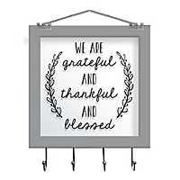Grateful Windowpane Wall Plaque with Hooks