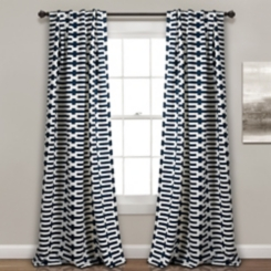 Navy Geometric Darkening Curtain Panel Set, 84 in.