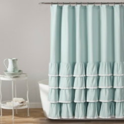 Blue Border Ruffle and Lace Shower Curtain