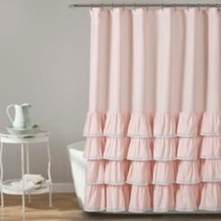 Blush Border Ruffle and Lace Shower Curtain