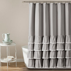 Gray Border Ruffle And Lace Shower Curtain