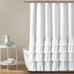 White Border Ruffle and Lace Shower Curtain