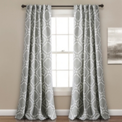 Gray Triangle Darkening Curtain Panel Set, 84 in.