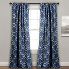 Navy Triangle Darkening Curtain Panel Set, 84 in.