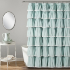 Blue Full Ruffle and Lace Shower Curtain