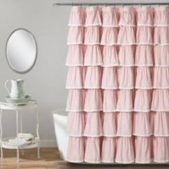 Blush Full Ruffle and Lace Shower Curtain