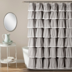 Gray Full Ruffle and Lace Shower Curtain