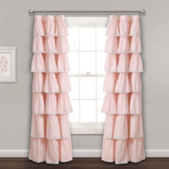 Blush Full Ruffle and Lace Curtain Panel, 84 in.