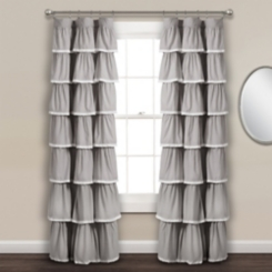 Gray Full Ruffle and Lace Curtain Panel, 84 in.