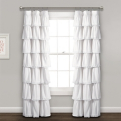 White Full Ruffle and Lace Curtain Panel, 84 in.