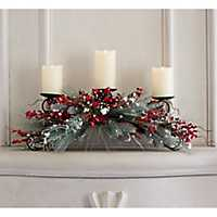 Snow Dusted Pine and Berry Candle Holder