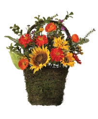 Sunflower and Poppy Wall Basket