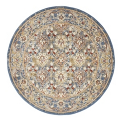 Round Sandy Ivory Power-Loomed Area Rug, 7 ft.