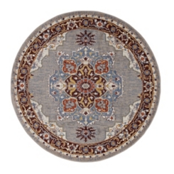 Round Sandy Beige Power-Loomed Area Rug, 7 ft.